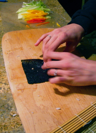 Hand Rolling Tropical Fruit Sushi